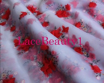Red/rose red organza with 3D flowers venice organza floral organza fabric apparel organza fabric
