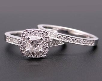 Beautiful 14k White Gold 1.25ct Princess Diamond Engagement Ring & Wedding Band Bridal Set size 7.75