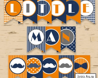 Little Man Birthday or Baby Shower Banner Mustache Blue Orange Grey DIY Printable INSTANT DOWNLOAD LM04