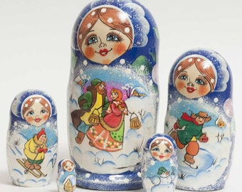 Nesting dolls Russian Winter Festive Time - #91bb