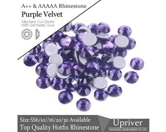 Top Quality Hotfix Rhinestones Purple Velvet Flatback Rhinestones DIY Crystal FRC37