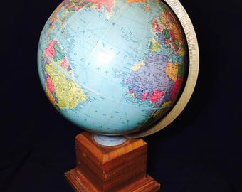 1940s Replogle 10 Inch Precision Globe With Wood Petastool