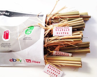 bamboo straws 10  sets/ 100 reusable straws/10  gifts/ wedding guest gift