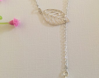 Leaf necklace, fresh mother pearl ,silver sterling necklace and on sale