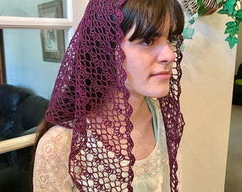 Paige Motif Crocheted Catholic Chapel Veil in Plum
