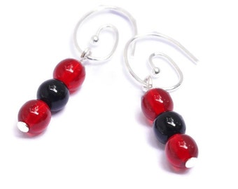 Soccer Mom - Black Earrings - Red Earrings for Women - Team Spirit Earrings - Red and Black Team Colors - Atlanta United Soccer - DC United