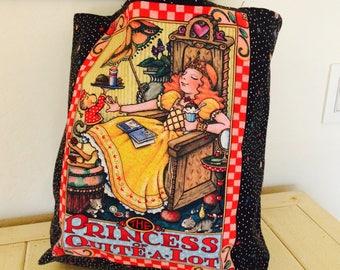 Princess Tote, Mary Englebreit The Princess of Quite a Lot Cotton Canvas Bag 1980s