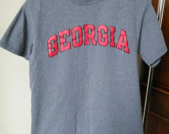 Vintage University of Georgia T-Shirt, Adult Size M, Athletic Gray with Red Screened Letters, Outlined in Black