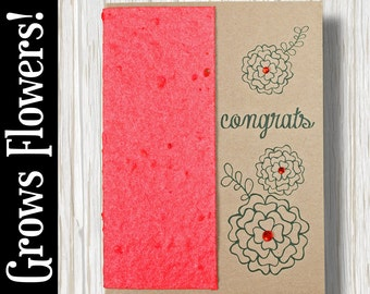 """CUSTOMIZABLE - Grows 13 different Wildflowers - """"Congrats"""" - Plant the Card! - #CN008"""