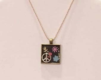 Peace Sign Pendant Antique Bronze 25mm Square
