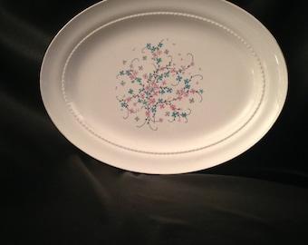 "Eastern China N.Y. USA 22K/Vintage Eastern China Pink Blue Floral Design/Eastern China EAN32 13"" Platter/EAN32 by Eastern China"