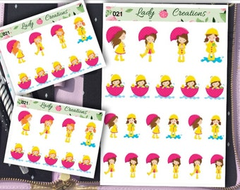021 | Rainy Day Girls with umbrella's and Gumboots - Planner Stickers
