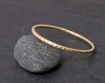 thin gold ring, 8 CT, hammered, stacking ring