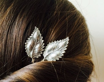 Silver Leaf Bobby Pins Silver Leaf Hair Pins Bridal Hair Pins Wedding Hair Clip Leaf Bridal Hair Clips Hair Accessories Silver Leaf