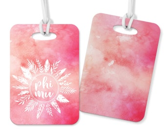 Phi Mu Feathers Luggage Tag Sorority Luggage Tag