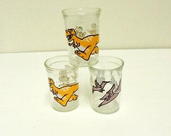 vintage dinosaur tyrannosaurus rex,pterodactyl decor welchs jelly jar glasses 1988,dinosaur collectibles decor,lot of 3