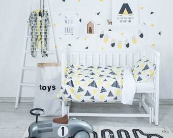 Triangle Bedding - Baby Bedding Crib Bedding Set Nursery Bedding
