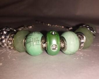 Jade color charm bracelet