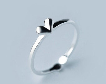 Cute 925 Sterling Silver I Love You Valentine's Day Sweetheart Heart Adjustable Band Ring