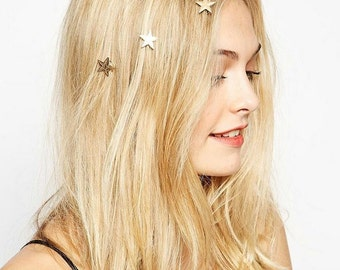 Set of FIVE Gold Stars, Clovers or White Rhinestones Swirly Spring Hair Clips