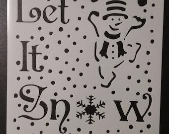 Let It Snow Man Snowman Snowflake Custom Stencil FAST FREE SHIPPING