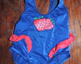 Vintage SwimSuit~Toddler~Gitano~18 months~Strawberry~Ruffles~Good condition!