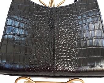 Black Shoulder Faux Leather Bag, Italian Leather Handbag, Liz Claiborne Purse, Womens's Small Black Purse