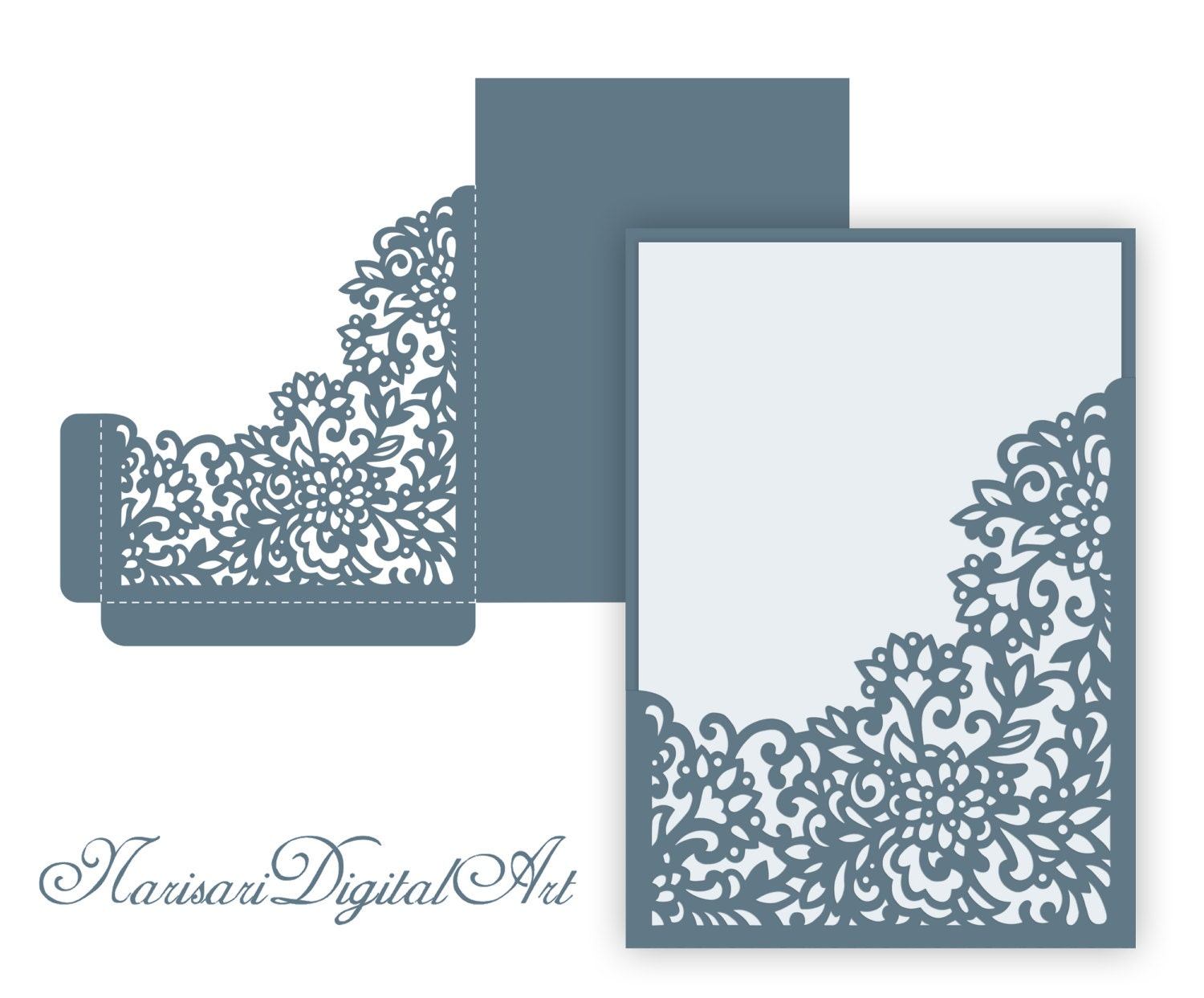 Laser Cut Wedding Invitation Pocket Envelope 5x7 Corner Frame