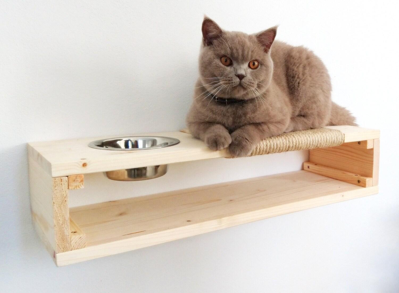 Cat Shelf Scratcher Feeder 3 In 1 Cat Shelf Cat Furniture