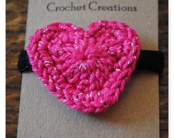 Pink sparkle heart hair tie