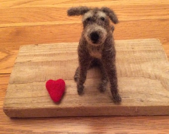 Needle felted Lurcher dog with a little toy heart