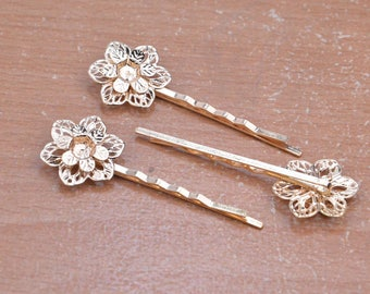 "10pcs 60mm (2.4"") gold hair clips,Gold bobby pins with two layer filigree flower,jewelry clips."