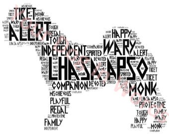 Lhasa Apso dog unique personalised word art print A4 Free post UK