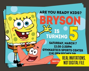 Spongebob Invitation - Spongebob Birthday Invitation