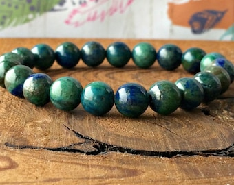 Genuine Chrysocolla Bracelet, Wrist Mala Beads, Heart & Throat Chakra Jewelry, Blue Green, Inner Strength-Healing the Heart-Soothes Anxiety