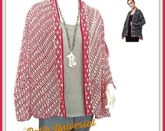 BOHO KIMONO. Cardigan Kimono. Open Cardigan. Cardigan Batik. Cardigan Tribal. Boho Cardigan. Indonesian. Handmade. Batik Clothing -CINDY Red