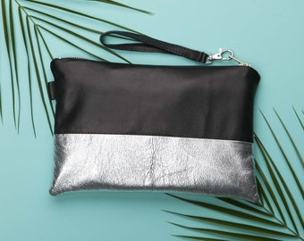 Black Silver Leather Clutch Purse // Metallic Leather // Wedding Clutch // Small Leather Clutch // Black Leather Clutch