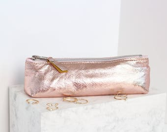 Rose Gold Leather Makeup Brush Bag // Metallic Leather Bag // School Zipper Pouch // Makeup Bag Leather // Pencil Pouch // Pencil Case