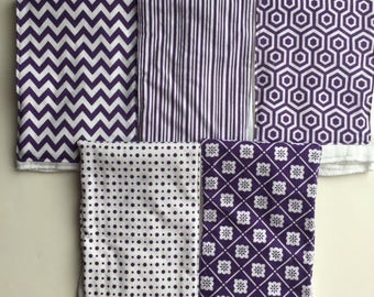 Purple and White Burp Cloths // Set of 5