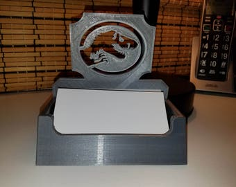 Blockbuster Movies Series Jurassic Park Sign Inspired Desktop Business Card Holder/Desktop Accessory/Office Supply