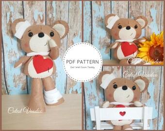 Get Well Soon Teddy PDF Felt Pattern