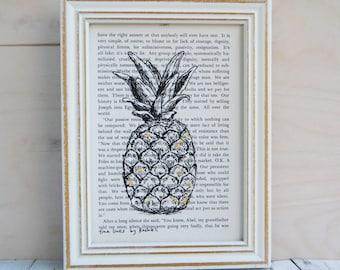 Framed art, Dictionary print, Pineapple poster, Book art, Hipster room decor, Tropical art