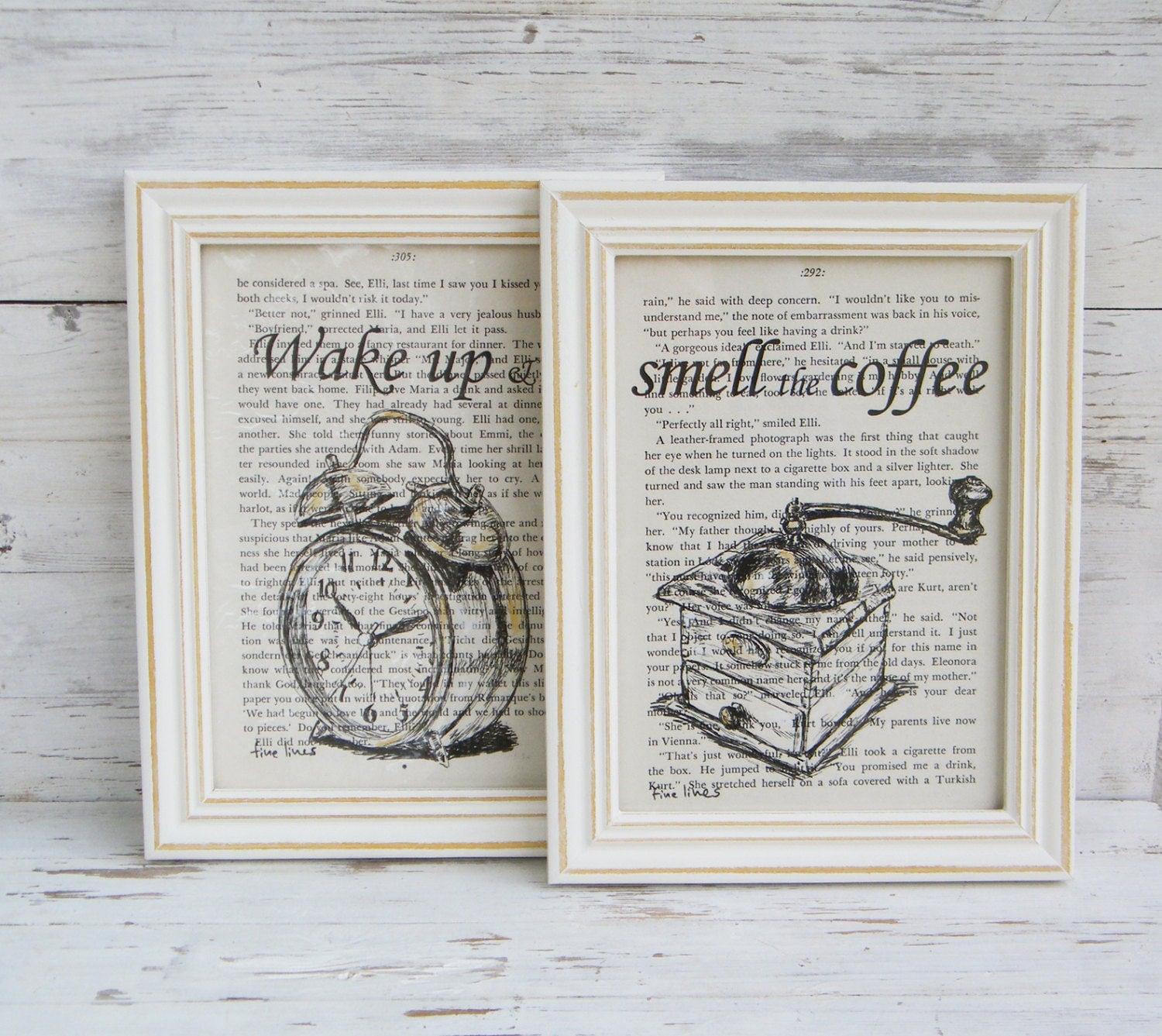 Wake up and smell the coffee Framed picture set Quote art