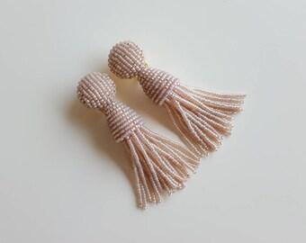 Oscar de la Renta Blush Rose Tassel Earrings Short Beaded Tassel Earrings Clip-on Earrings short Beaded Tassel Earrings Handmade