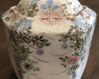 Antique Japanese Signed Kutani Biscuit Jar Tea Caddy Porcelain Hand Painted w Moriage Mums Signed