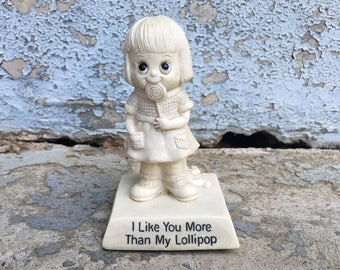 MOVING SALE Vintage 1975 R&W Berries Co I Like You More Than My Lollipop Baby Girl + Doll Figurine