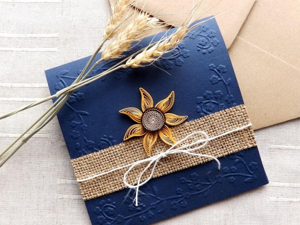 Handmade Rustic Wedding Invitations: Handmade Sunflower Wedding Invite/Country Invitation/Blue Navy