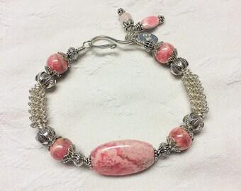 Rhodochrosite and Sterling Silver Bracelet