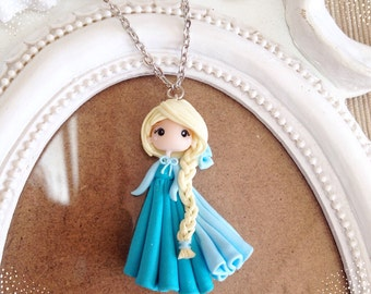 Elsa Necklace ~ Kawaii Cute Disney Princess Fimo Polymer Clay Necklace Frozen Ice Doll Handmade Heavenly Bow Braid Hair Jewelry