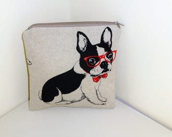 French Bulldog Make up Bag, Frenchie MakeUp Bag, Boston Terrier Cosmetics Bag, Dog Make Up Pouch, Frenchie Make Up Purse, Boston Terrier Bag